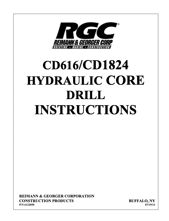 CD616/CD1824 HYDRAULIC CORE DRILL INSTRUCTIONS - Cover