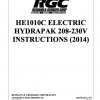 HE1010C ELECTRIC HYDRAPAK 208-230V INSTRUCTIONS (2014) - Cover Page