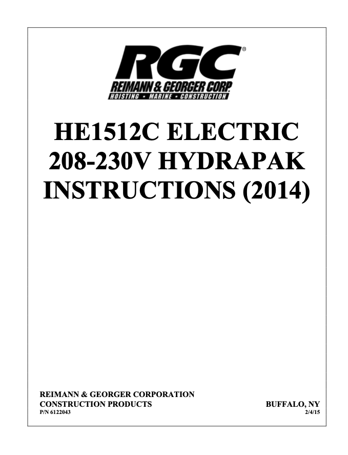 HE1512C ELECTRIC 208-230V HYDRAPAK INSTRUCTIONS (2014) - Cover Page