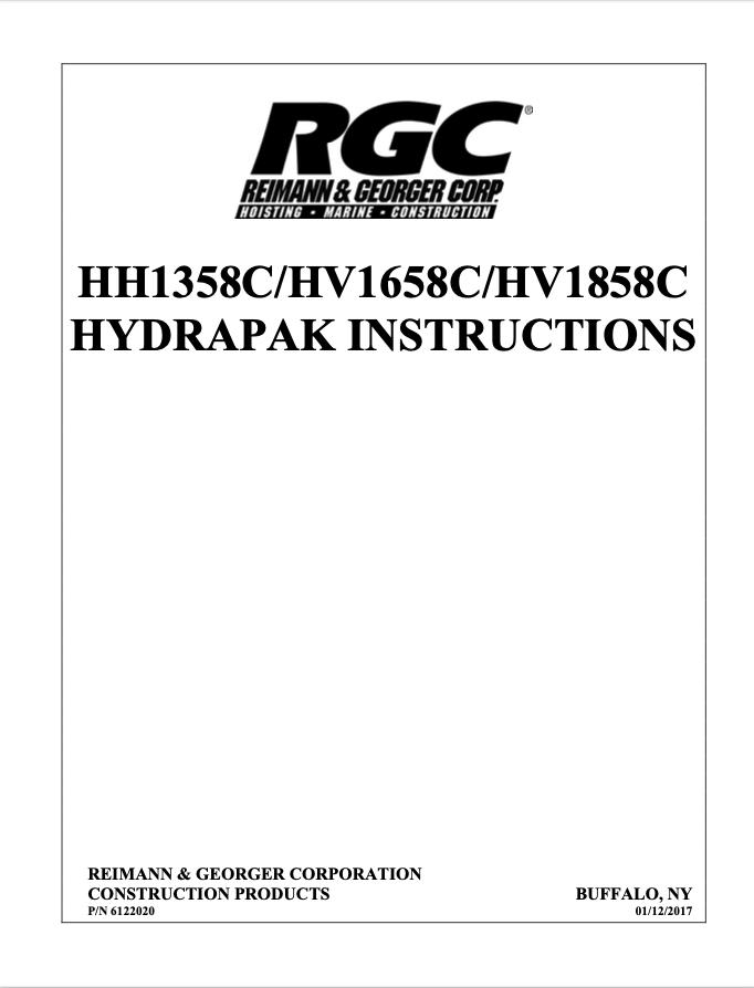 HH1358C/HV1658C/HV1858C HYDRAPAK INSTRUCTIONS - Cover Page