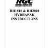 HH1810 & HH2010 HYDRAPAK INSTRUCTIONS - Cover Page