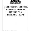 HV1810STD   HV1810XL BI-DIRECTIONAL HYDRAPAK INSTRUCTIONS