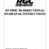 HV1858C BI-DIRECTIONAL HYDRAPAK INSTRUCTIONS - Cover Page