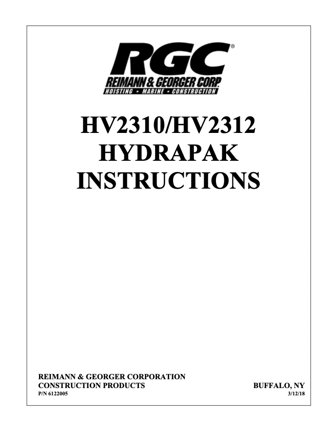 HV2310/HV2312 HYDRAPAK INSTRUCTIONS